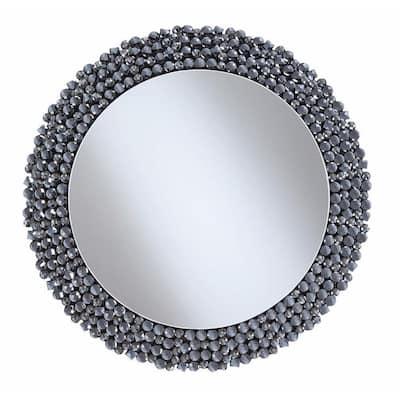 31.5 in. H x 31.5 in. W Medium Round Silver Modern Mirror