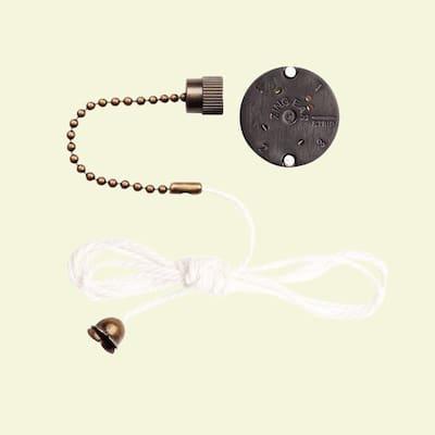 3-Speed Antique Brass Pull Chain Fan Switch