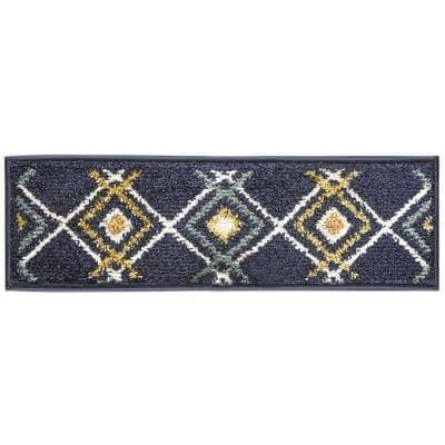 Navy Blue 9 in. x 28 in. Polypropylene Carpet Stair Tread Cover (Set of 13)