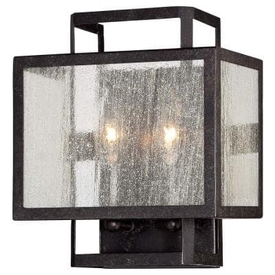 Camden Square 2-Light Aged Charcoal Wall Sconce