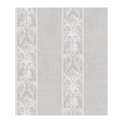 Elsa Stone Alternating Damask Stripe Paper Strippable Roll Wallpaper (Covers 56.4 sq. ft.)