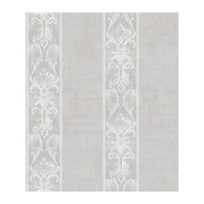 Elsa Stone Alternating Damask Stripe Washable Wallpaper Sample