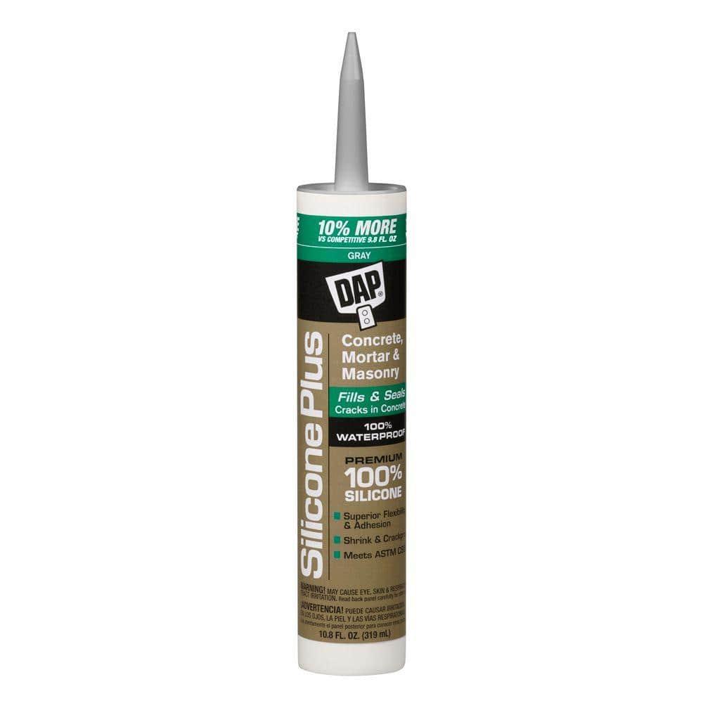 DAP Silicone Plus 10.8 oz. Gray Premium Silicone Rubber Concrete and Masonry Sealant (12-Pack)