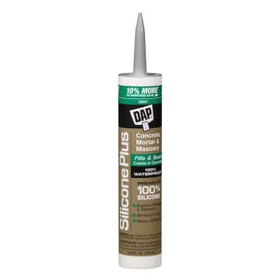 Silicone Plus 10.8 oz. Gray Premium Silicone Rubber Concrete and Masonry Sealant (12-Pack)