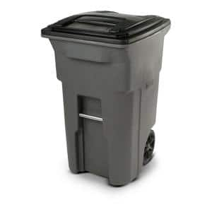 64 Gal. Graystone Trash Can with Wheels and Attached Lid