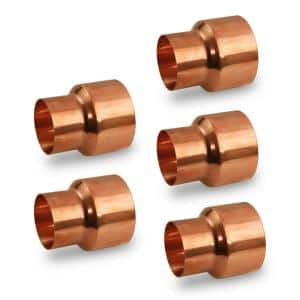 3/4 in. x 1/2 in. Copper Reducing Coupling Fitting with Rolled Tube Stop (5-Pack)