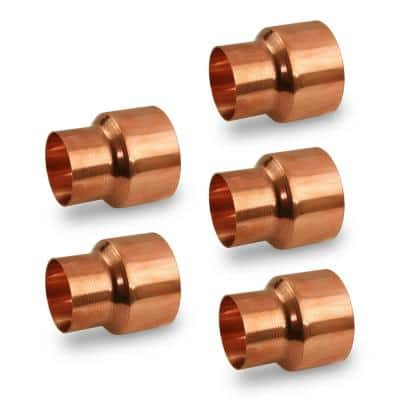 5/8 x 1/2 in. Copper Reducing Coupling Fitting with Rolled Tube Stop (5-Pack)