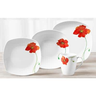 16-Piece Casual White with Pattern Ceramic Dinnerware Set (Service for 4)