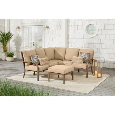 Geneva 6-Piece Brown Wicker Outdoor Patio Sectional Sofa Seating Set with Ottoman and Sunbrella Beige Tan Cushions