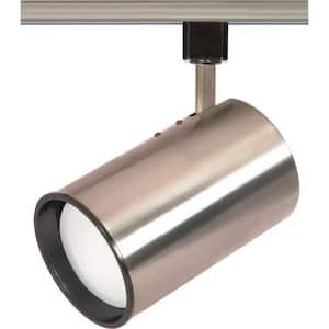 1-Light R30 Brushed Nickel Straight Cylinder Track Lighting Head