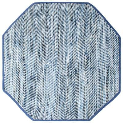 Striped Blue Jeans & Cotton 8 ft. x 8 ft. Octagon Rug