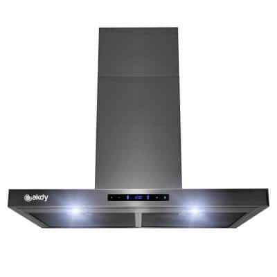 30 in. 343 CFM Convertible T-Shape Wall Mount Black Stainless Steel Kitchen Range Hood with Touch Panel
