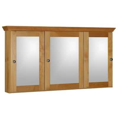 Shaker 48 in. W x 27 in. H x 6-1/2 in. D Framed Tri-View Surface-Mount Bathroom Medicine Cabinet in Natural Alder