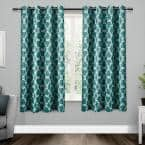 Teal Trellis Thermal Blackout Curtain - 52 in. W x 63 in. L (Set of 2)