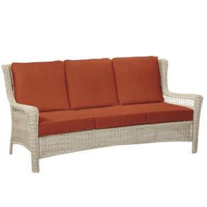 Park Meadows Off-White Wicker Outdoor Patio Sofa with CushionGuard Quarry Red Cushions