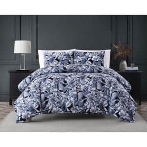 Talia 2-Piece Blue and Black Floral Cotton Twin XL Comforter Set