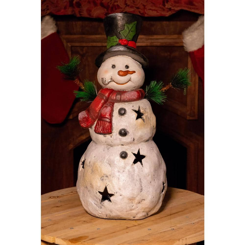 Alpine Corporation 22 In Christmas Snowman Statuary With Black Stars Mcc302 The Home Depot