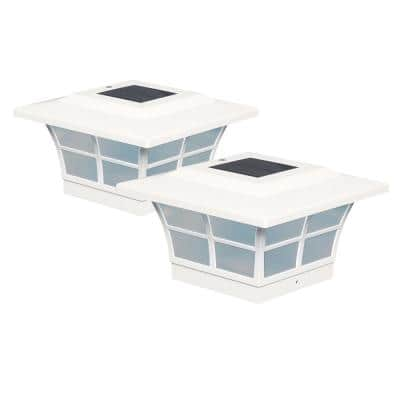 Prestige 5 in. x 5 in. Outdoor White Vinyl LED Solar Post Cap ( 2-Pack)
