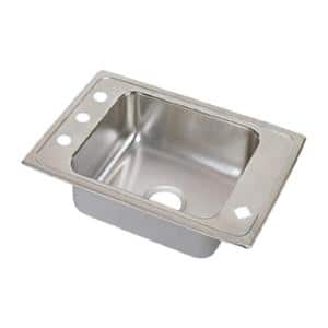 Lustertone Drop-In Stainless Steel 25 in. 4-Hole Single Bowl Classroom Sink