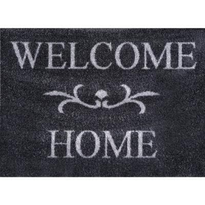 Whimsy Welcome Home Grey 20 in. x 30 in. Nylon Doormat