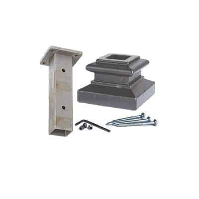 3.1 in. x 2.3 in. Level Base Mounting Kit for 1-3/16 in. Square Iron Newel Posts Ash Grey