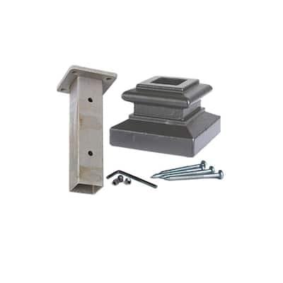 Square Mounting Kit 3.125 in. Cast Iron Level Shoe Newel Shoe Satin Black