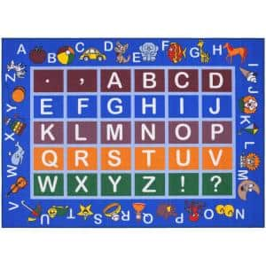 Jenny Collection Light Blue Alphabet Design 3 ft. x 5 ft. Non-Slip Kids Area Rug