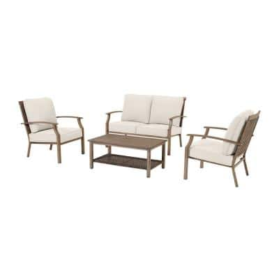 Geneva Brown 4-Piece Wicker Outdoor Patio Conversation Deep Seating Set with Almond Tan Cushions