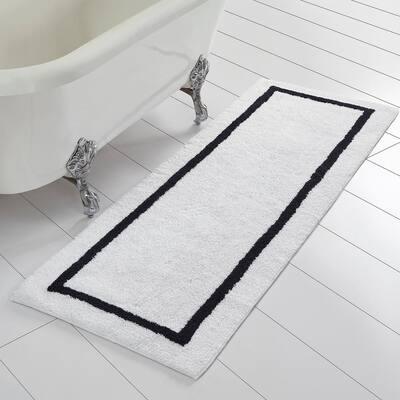 Black Reversible Contrast Stripe Bath Runner