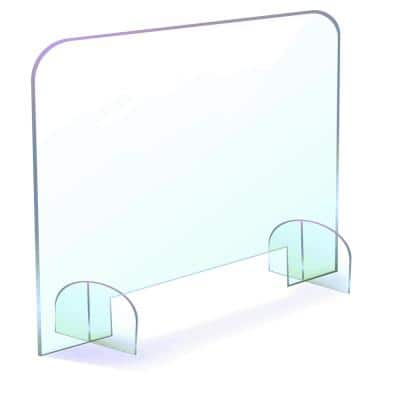 24 in. x 30 in. Protective Shield Sneeze Guard Clear-Free Standing with Base Stands Medium with Pass Through
