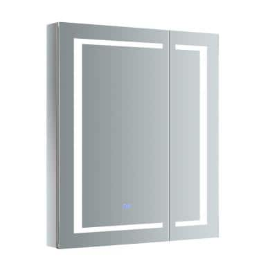 Spazio 30 in. W x 36 in. H Recessed or Surface Mount Medicine Cabinet with LED Lighting and Mirror Defogger