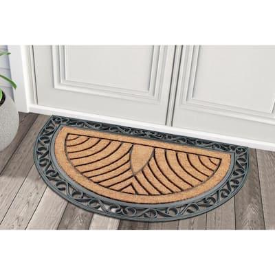 A1HC Half Round Striped Black/Beige 30 in. x 48 in. Rubber and Coir Non-Slip Backing Double Door Doormat