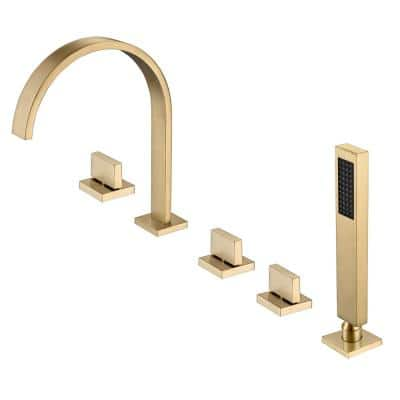 Klara Double-Handle Deck-Mounted Roman Tub Faucet in Brushed Gold