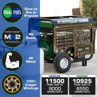 11500-Watt/9000-Watt 457 cc Electric Start Dual Fuel Hybrid Portable Generator