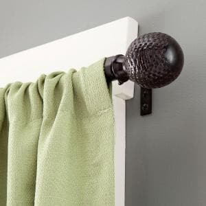 Woven Ball 28 in. - 48 in. Adjustable 5/8 Single Standard Decorative Window Curtain Rod in Weathered Brown