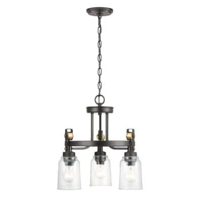 Knollwood 3-Light Blackened Bronze Chandelier with Vintage Brass Accents and Clear Glass Shades