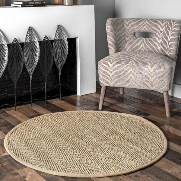 Nuloom Larnaca Seagrass Herringbone Natural 6 Ft X 6 Ft Round Indoor Outdoor Area Rug Hjsg02a R606 The Home Depot