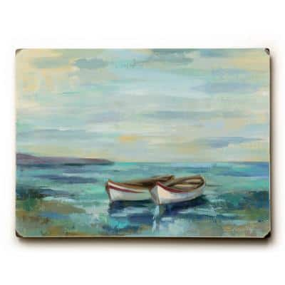"""9 in. x 12 in. """"Boats at the Beach"""" by Silvia Vassileva Solid Wood Wall Art"""