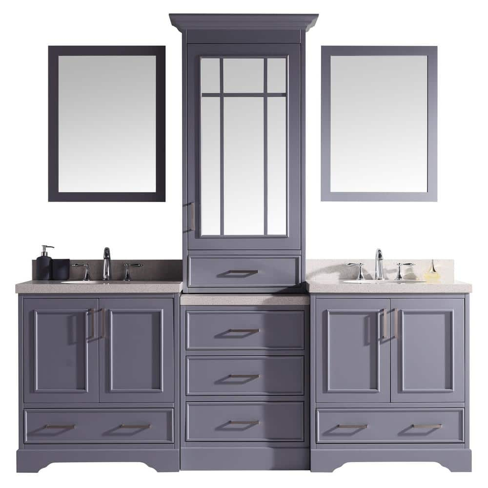 Ariel Stafford 85 In W X 22 In D Bath Vanity In Grey With Quartz Vanity Top In White With White Basins And Mirrors M085d Gry The Home Depot