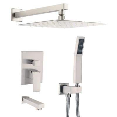 Shower System Wall Mounted with 12 in. Square Rainfall Shower head and Handheld Shower Head Set, Brushed Nickel