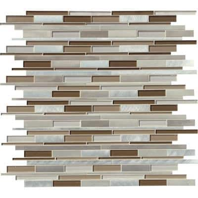 Madison Avenue Interlocking 12 in. x 12 in. x 8mm Glass Metal Mesh-Mounted Mosaic Wall Tile (9.8 sq. ft./Case)