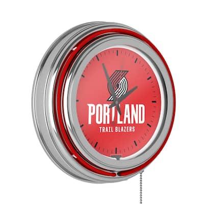 14 in. Portland Trail Blazers NBA Chrome Double Ring Neon Wall Clock