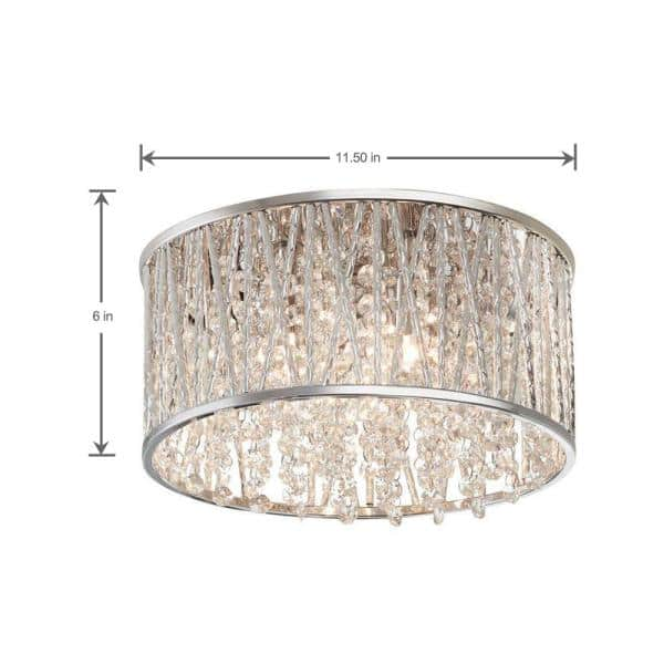 Home Decorators Collection Saynsberry 11 5 In 3 Light Polished Chrome And Crystal Drum Shape Flush Mount 4411 Ndm The Home Depot