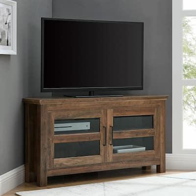 Cordoba 44 in. Rustic Oak Wood Corner TV Stand 50 in. with Doors