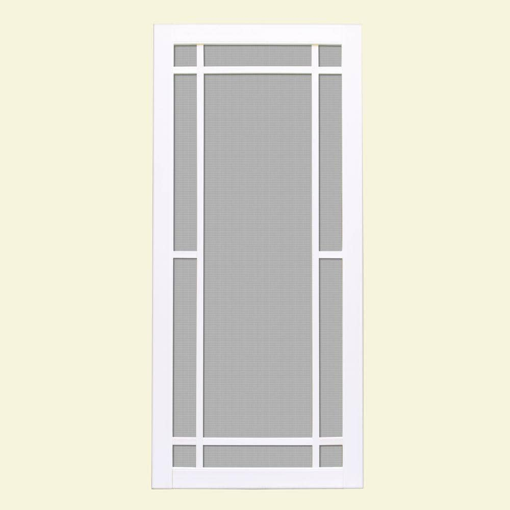 Unique Home Designs 36 In X 80 In Napa White Outswing Vinyl Hinged Screen Door Ishv710036wht The Home Depot