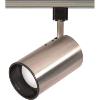 1-Light R20 Brushed Nickel Track Lighting Head Straight Cylinder