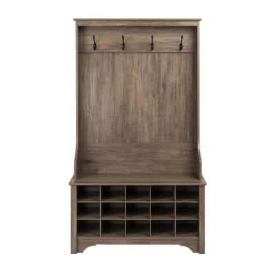 Drifted Gray Hall Tree with Shoe Storage