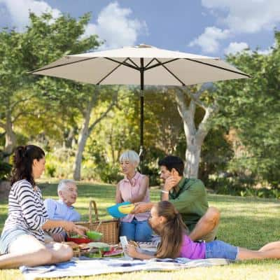 7.5 ft. Market Patio Umbrella Table with Push Button Tilt and Crank in Beige