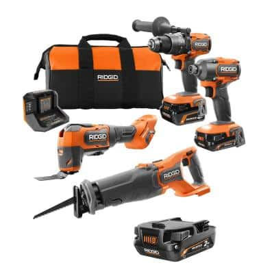 18V Brushless Cordless 4-Tool Combo Kit with (1) 4.0 Ah and (2) 2.0 Ah MAX Output Batteries, 18V Charger, and Tool Bag