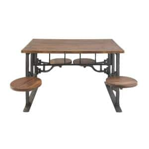 Brown Rustic 31 x 51 in. Wood and Iron Dining Table